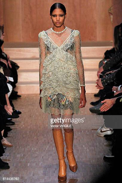 A model walks the runway during the Givenchy fashion show as part of the Paris Fashion Week Womenswear Fall/Winter 2016/2017 on March 6 2016 in Paris...