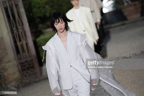 Model walks the runway during the Givenchy fashion show during Pitti Immagine Uomo 96 on June 12, 2019 in Florence, Italy.
