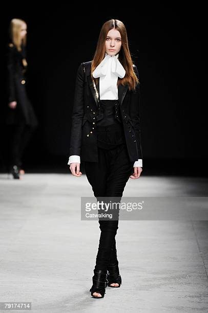 A model walks the runway during the Givenchy Fashion Show part of Paris Spring/Summer 2008 Haute Couture Fashion Week on the 22nd of January 2008 in...