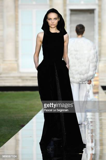A model walks the runway during the Givenchy Haute Couture Fall Winter 2018/2019 show as part of Paris Fashion Week on July 1 2018 in Paris France