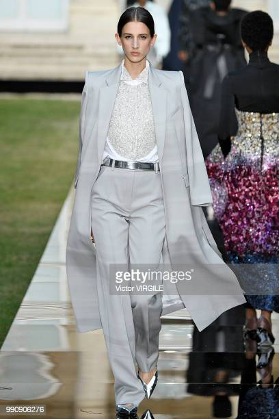 Model walks the runway during the Givenchy Haute Couture Fall Winter 2018/2019 fashion show as part of Paris Fashion Week on July 1, 2018 in Paris,...