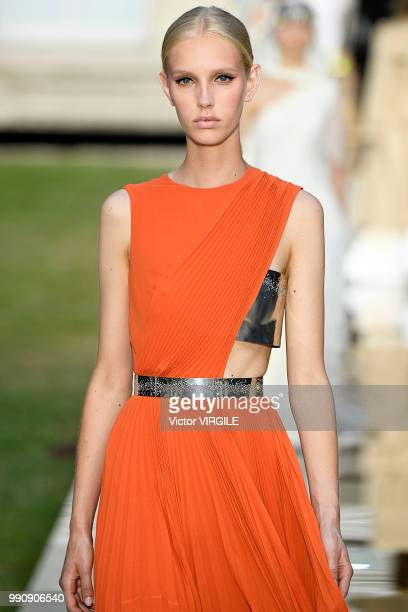 A model walks the runway during the Givenchy Haute Couture Fall Winter 2018/2019 fashion show as part of Paris Fashion Week on July 1 2018 in Paris...