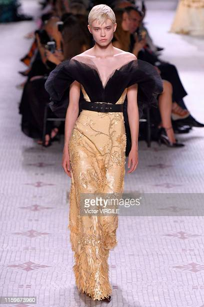 A model walks the runway during the Givenchy Haute Couture Fall/Winter 2019 2020 show as part of Paris Fashion Week on July 02 2019 in Paris France