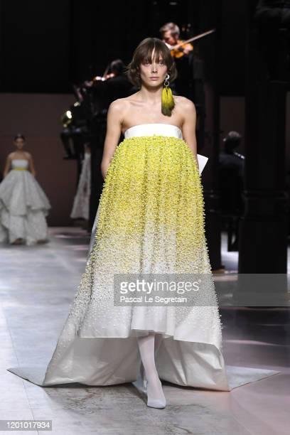 Model walks the runway during the Givenchy Haute Couture Spring/Summer 2020 show as part of Paris Fashion Week on January 21, 2020 in Paris, France.