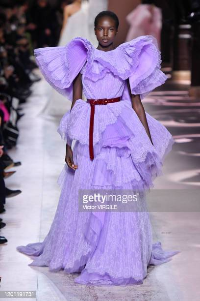 A model walks the runway during the Givenchy Haute Couture Spring/Summer 2020 fashion show as part of Paris Fashion Week on January 21 2020 in Paris...