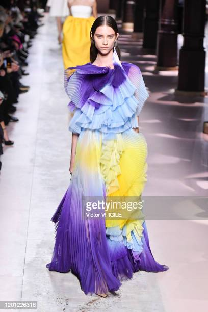 Model walks the runway during the Givenchy Haute Couture Spring/Summer 2020 fashion show as part of Paris Fashion Week on January 21, 2020 in Paris,...