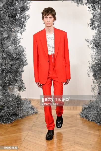 Model walks the runway during the Givenchy Menswear Fall/Winter 2020-2021 show as part of Paris Fashion Week on January 16, 2020 in Paris, France.