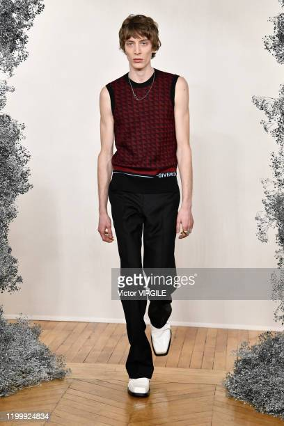 A model walks the runway during the Givenchy Menswear Fall/Winter 20202021 show as part of Paris Fashion Week on January 16 2020 in Paris France