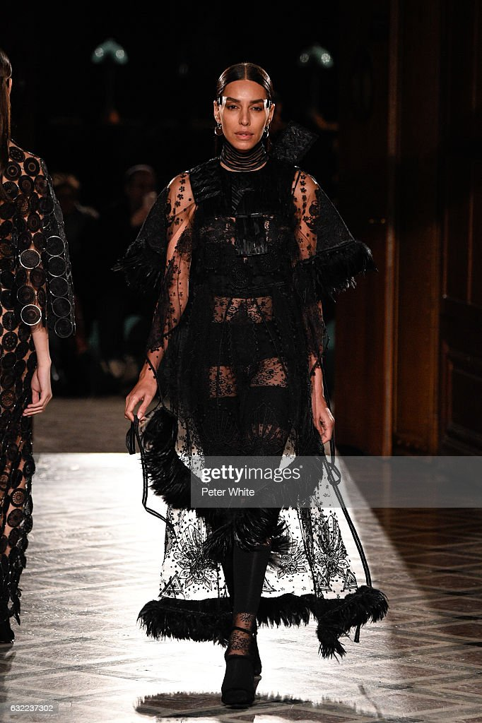 A model walks the runway during the Givenchy Menswear Fall/Winter 2017-2018 show as part of Paris Fashion Week on January 20, 2017 in Paris, France.