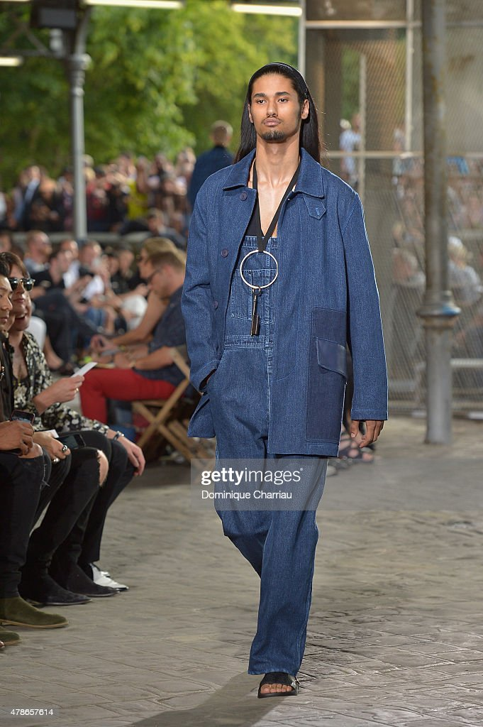 A model walks the runway during the Givenchy Menswear Spring/Summer 2016 show as part of Paris Fashion Week on June 26, 2015 in Paris, France.