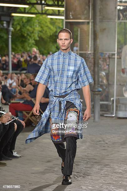 A model walks the runway during the Givenchy Menswear Spring/Summer 2016 show as part of Paris Fashion Week on June 26 2015 in Paris France