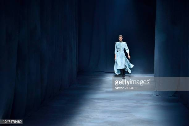A model walks the runway during the Givenchy Ready to Wear fashion show as part of the Paris Fashion Week Womenswear Spring/Summer 2019 on September...