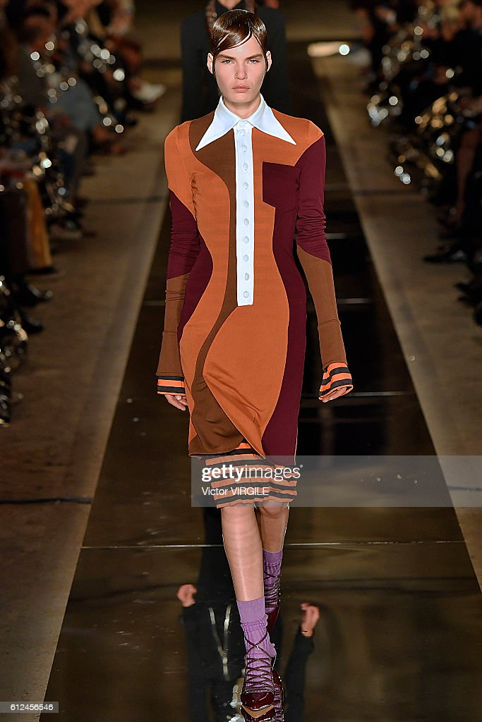A model walks the runway during the Givenchy Ready to Wear fashion show as part of the Paris Fashion Week Womenswear Spring/Summer 2017 on October 2, 2016 in Paris, France.