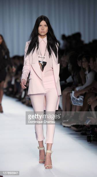 Model walks the runway during the Givenchy Ready to Wear Spring / Summer 2012 show during Paris Fashion Week on October 2, 2011 in Paris, France.