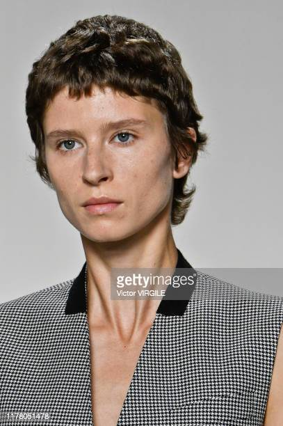 Model walks the runway during the Givenchy Ready to Wear Spring/Summer 2020 fashion show as part of Paris Fashion Week on September 29, 2019 in...