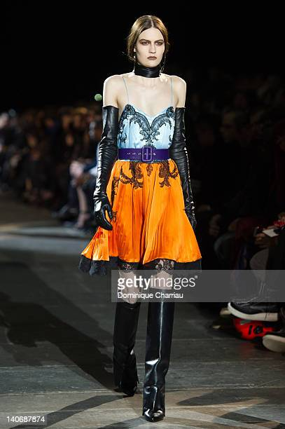 Model Walks the runway during the Givenchy Ready-To-Wear Fall/Winter 2012 show as part of Paris Fashion Week on March 4, 2012 in Paris, France.
