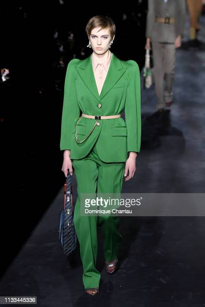 A model walks the runway during the Givenchy show as part of the Paris Fashion Week Womenswear Fall/Winter 2019/2020 on March 03 2019 in Paris France