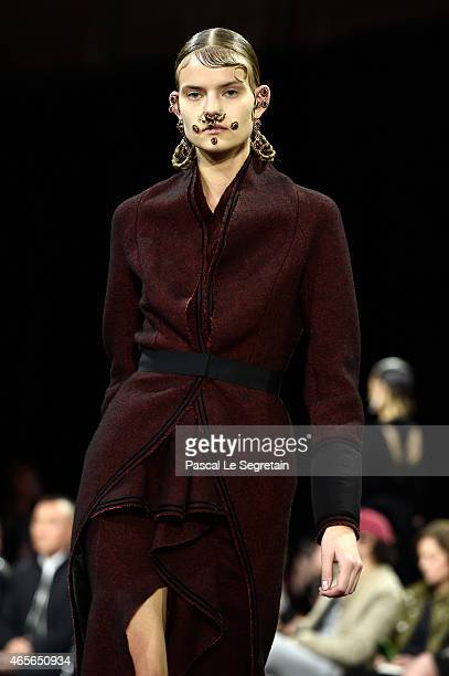 A model walks the runway during the Givenchy show as part of the Paris Fashion Week Womenswear Fall/Winter 2015/2016 on March 8 2015 in Paris France