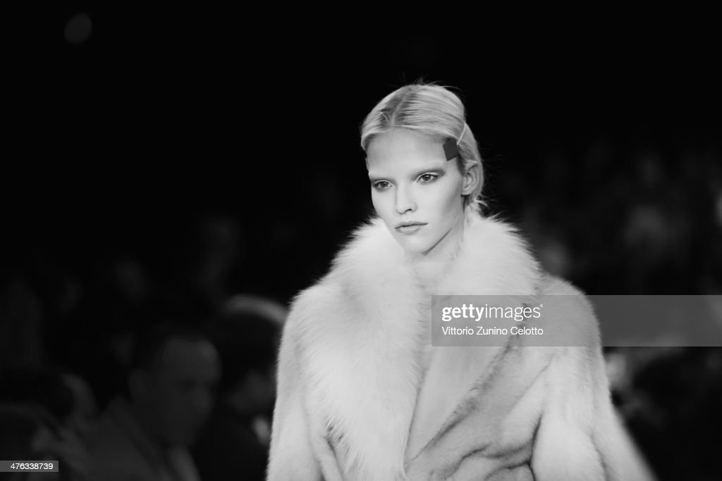 A model walks the runway during the Givenchy show as part of the Paris Fashion Week Womenswear Fall/Winter 2014-2015 at La Halle Freyssinet on March 2, 2014 in Paris, France.