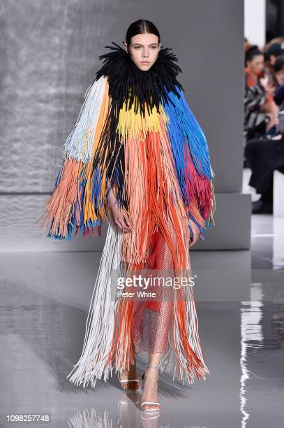 A model walks the runway during the Givenchy Spring Summer 2019 show as part of Paris Fashion Week on January 22 2019 in Paris France
