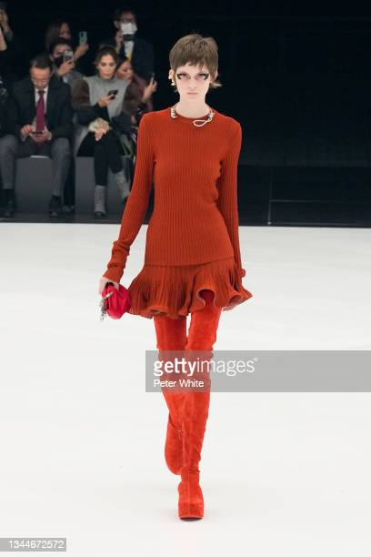 Model walks the runway during the Givenchy Womenswear Spring/Summer 2022 show as part of Paris Fashion Week at U Arena on October 03, 2021 in...