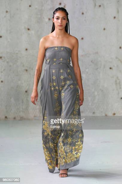 A model presents a creation by GMBH fashion house during the men's spring/summer 2019 collection fashion show on June 19 2018 in Paris
