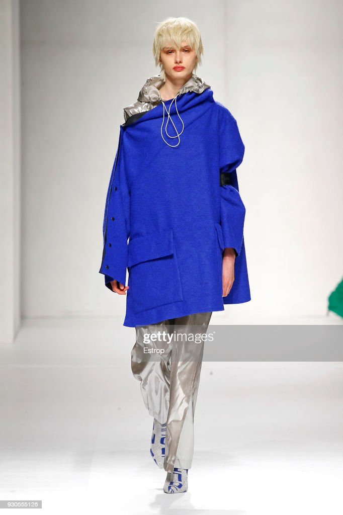 A model walks the runway during the Gonçalo Peixoto show as part of the Lisboa Fashion Week 'Moda Lisboa' 2018 on March 10, 2018 in Lisbon, Portugal.