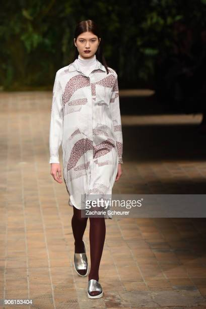 A model walks the runway during the Greenshowroom Ethical Fashion Show Berlin at Kraftwerk Mitte on January 17 2018 in Berlin Germany
