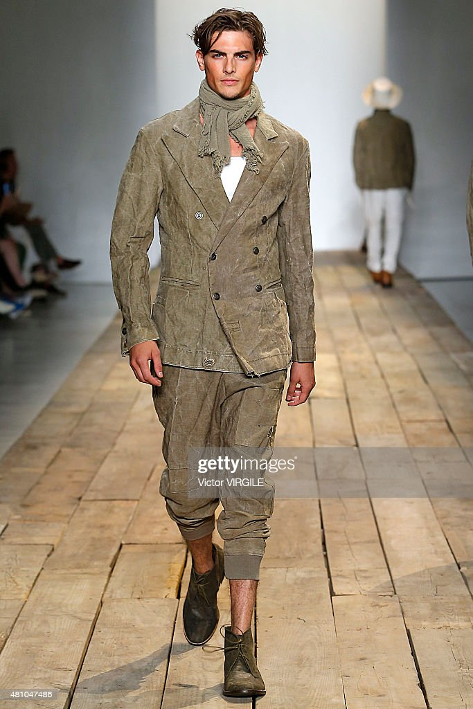 A model walks the runway during the Greg Lauren show at New York Fashion Week: Men's S/S 2016 at Skylight Clarkson Sq on July 15, 2015 in New York City.