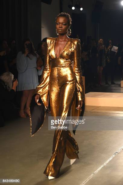 A model walks the runway during the Greta Constantine presentation during New York Fashion Week at Pier 59 on September 6 2017 in New York City