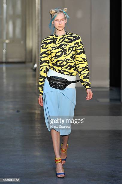 A model walks the runway during the Ground Zero show as part of Paris Fashion Week Womenswear Spring/Summer 2015 on September 23 2014 in Paris France