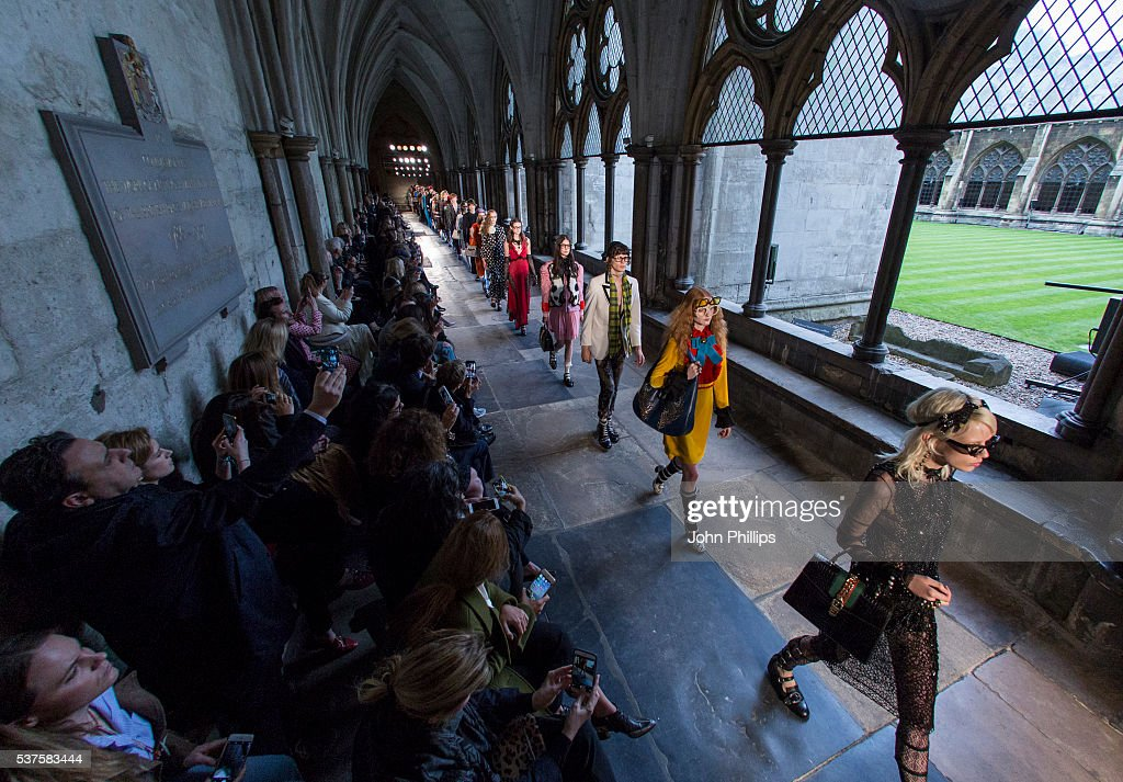 96bb94ea38e583 A model walks the runway during the Gucci Cruise 2017 fashion show ...