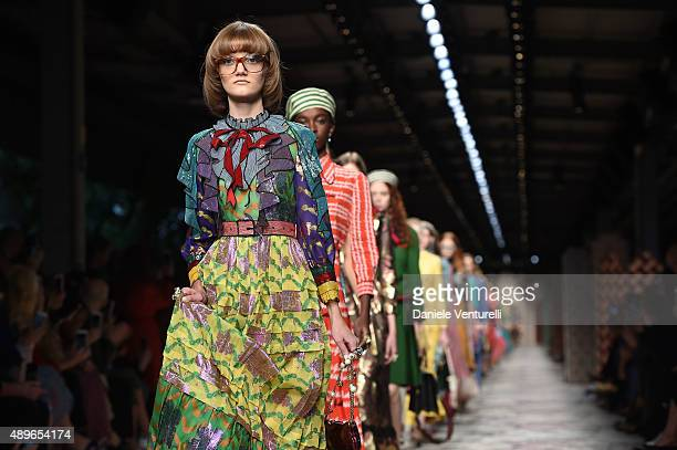 Model walks the runway during the Gucci fashion show as part of Milan Fashion Week Spring/Summer 2016 on September 23, 2015 in Milan, Italy.
