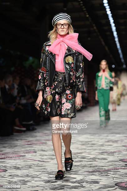 A model walks the runway during the Gucci fashion show as part of Milan Fashion Week Spring/Summer 2016 on September 23 2015 in Milan Italy