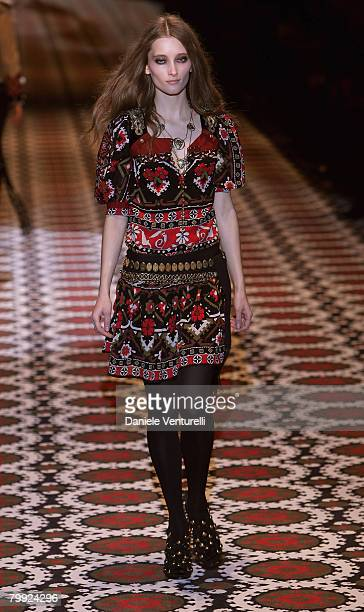 Model walks the runway during the Gucci fashion show as part of Milan Fashion Week Autumn/Winter 2008/09 on February 20, 2008 in Milan, Italy.