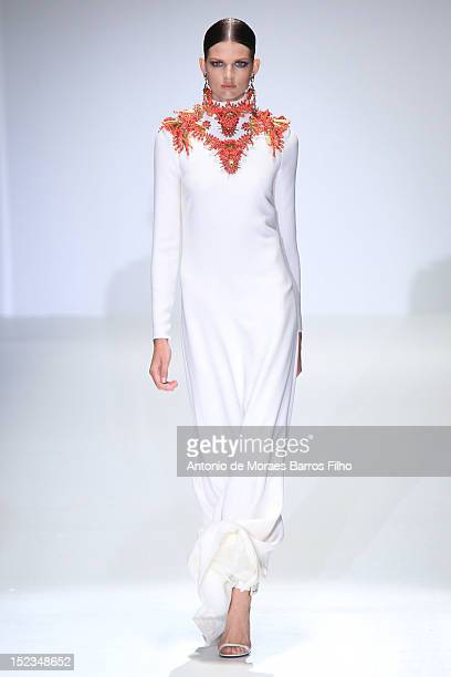 Model walks the runway during the Gucci show as a part of Milan Fashion Week Womenswear S/S 2013 on September 19, 2012 in Milan, Italy.