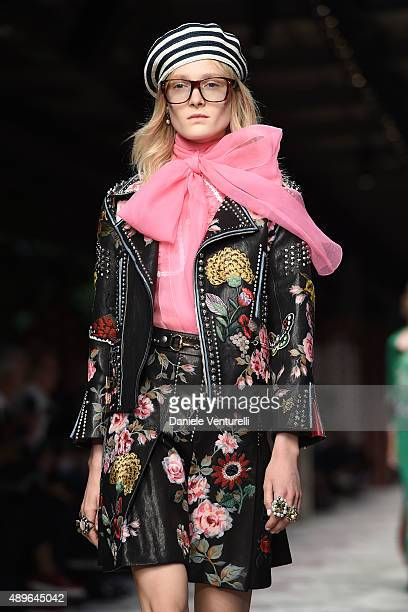 56a65dea311a6 A model walks the runway during the Gucci show as a part of Milan Fashion  Week