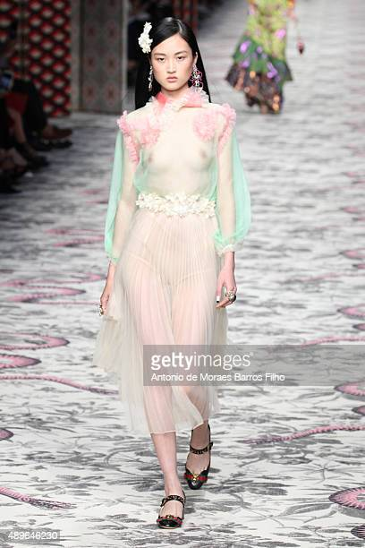 Model walks the runway during the Gucci show as a part of Milan Fashion Week Spring/Summer 2016 on September 23, 2015 in Milan, Italy.