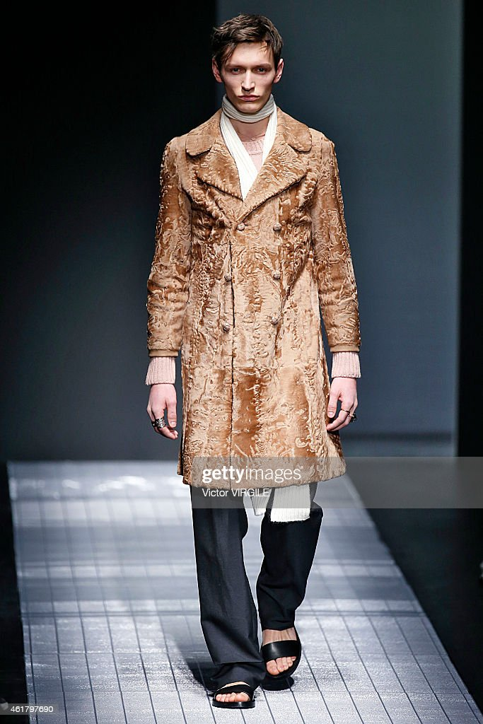 A model walks the runway during the Gucci show as part of Milan Menswear Fashion Week Fall Winter 2015/2016 on January 19, 2015 in Milan, Italy.
