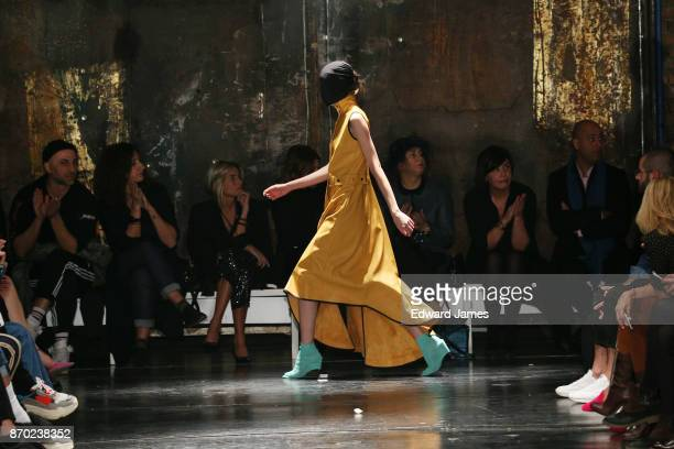 A model walks the runway during the Gudu fashion show at MercedesBenz Fashion Week Tbilisi on November 4 2017 in Tbilisi Georgia