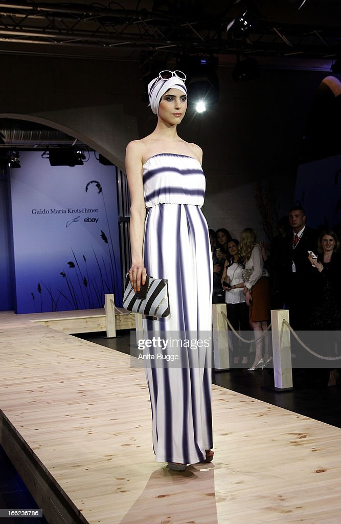 A model walks the runway during the Guido Maria Kretschmer For eBay Collection Launch at Label 2 on April 10, 2013 in Berlin, Germany.
