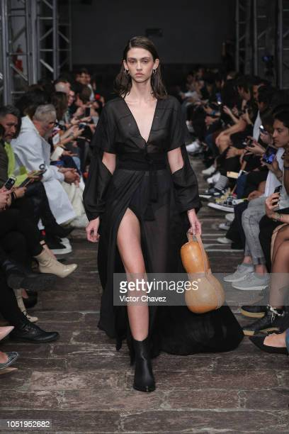 A model walks the runway during the Guillermo Jester Mexico Disena by Elle fashion show at Mercedes Benz Fashion Week Mexico 2018 at Antiguo Colegio...