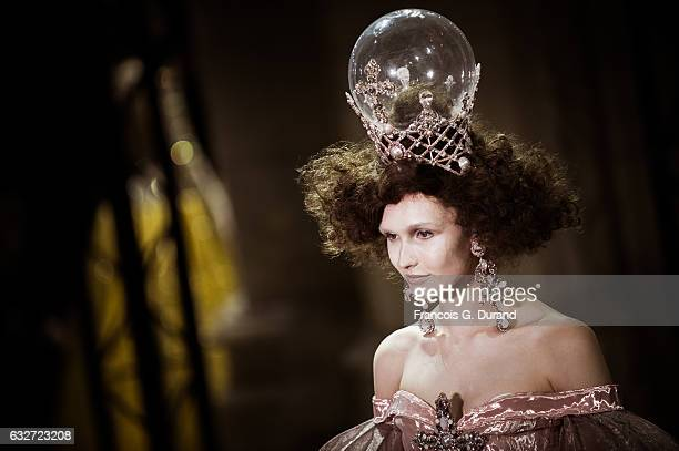 Model walks the runway during the Guo Pei Fashion Week on January 25, 2017 in Paris, France.