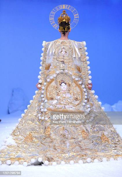 Model walks the runway during the Guo Pei Haute Couture Spring/Summer 2020 show as part of Paris Fashion Week on January 22, 2020 in Paris, France.