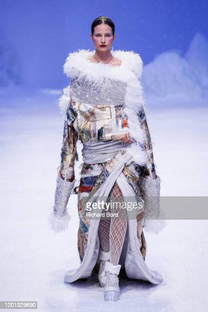 Model walks the runway during the Guo Pei Haute Couture Spring/Summer 2020 show at Palais de Tokyo as part of Paris Fashion Week on January 22, 2020...
