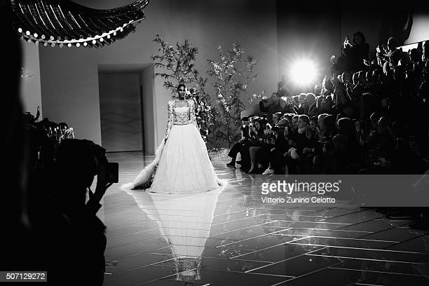 Model walks the runway during the Guo Pei Spring Summer 2016 show as part of Paris Fashion Week on January 27, 2016 in Paris, France.