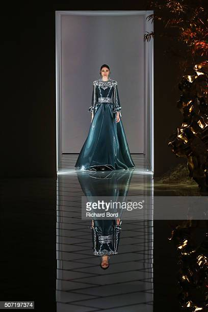 A model walks the runway during the Guo Pei Spring Summer 2016 show as part of Paris Fashion Week on January 27 2016 in Paris France