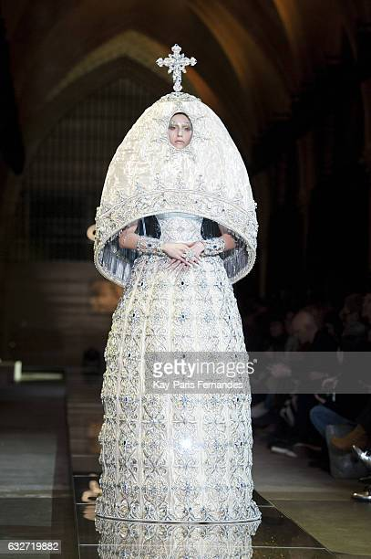 Model walks the runway during the Guo Pei Spring Summer 2017 show as part of Paris Fashion Week on January 25, 2017 in Paris, France.