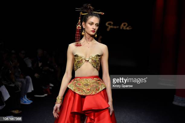 Model walks the runway during the Guo Pei Spring Summer 2019 show as part of Paris Fashion Week on January 23, 2019 in Paris, France.