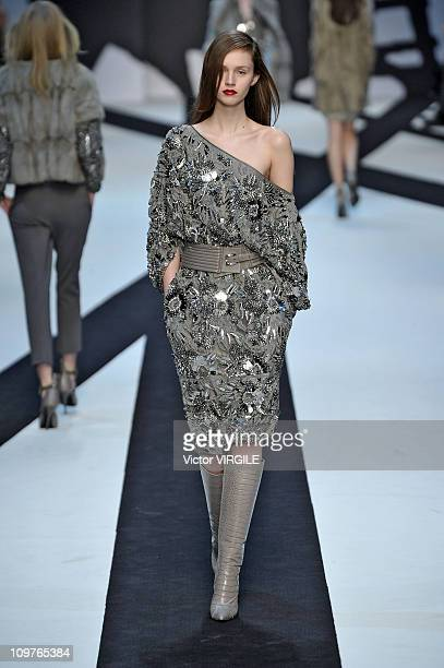 Model walks the runway during the Guy Laroche Ready to Wear Fall/Winter 2011 show as part of the Paris Fashion Week on March 02, 2011.